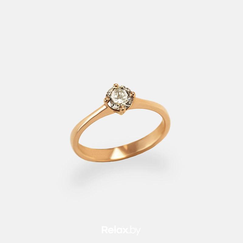 Ювелирный салон Белорусские Бриллианты Кольцо из золота со вставкой бриллиант синт. 21010020 - фото 1