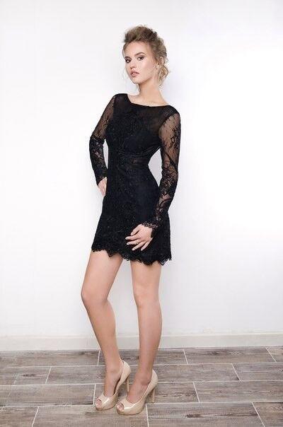 Вечернее платье Shkafpodrugi Кружевное маленькое черное платье с открытой спиной 2129 - фото 2