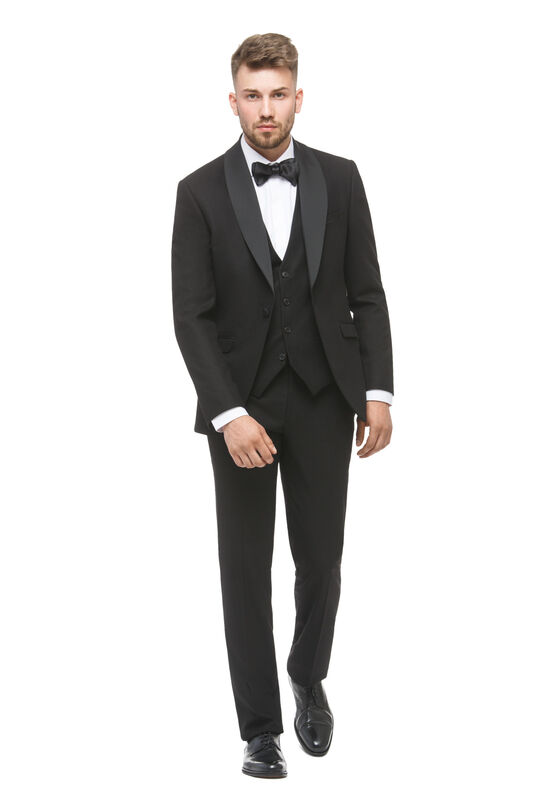 Костюм мужской HISTORIA Смокинг черный с шалевым атласным воротником - фото 1