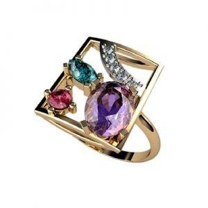 Ювелирный салон jstudio Золотое кольцо с различными вставками 10242 - фото 1