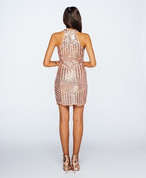 Вечернее платье Shkafpodrugi Блестящее короткое розовое платье в пайетках 3002 - фото 3