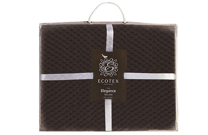 Подарок Ecotex Декоративный флисовый плед 200х220 Elegance Коричневый - фото 4