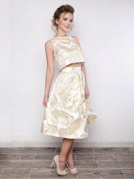 Вечернее платье SHI-SHI Стильный комплект из золотого топа и юбки солнце 116 - фото 1