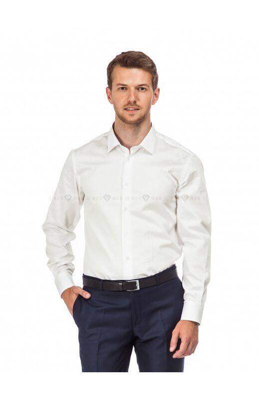 Кофта, рубашка, футболка мужская Keyman Рубашка мужская айвори сатин - фото 1