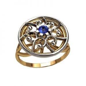 Ювелирный салон jstudio Золотое кольцо с различными фианитами 10335 - фото 1