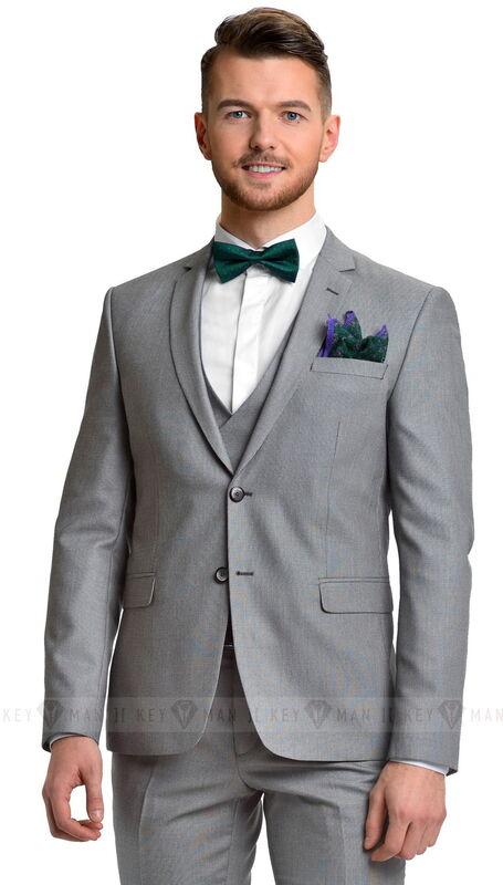 Костюм мужской Keyman Костюм мужской светло-серый в мелкую фактуру с жилетом (тройка) - фото 1