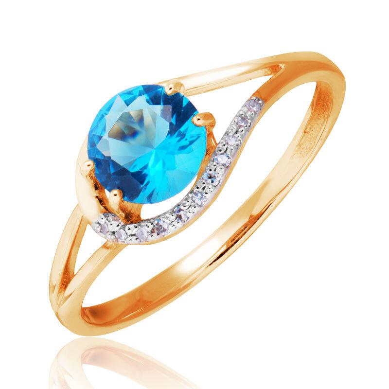 Ювелирный салон Jeweller Karat Кольцо золотое с бриллиантами и топазом арт. 1215224 - фото 1