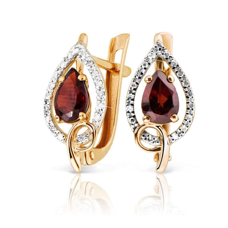 Ювелирный салон Jeweller Karat Серьги золотые с бриллиатами и гранатом арт. 1224706 - фото 1