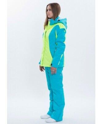 Спортивная одежда Free Flight Женская горнолыжная мембранная куртка салатово-голубая - фото 3