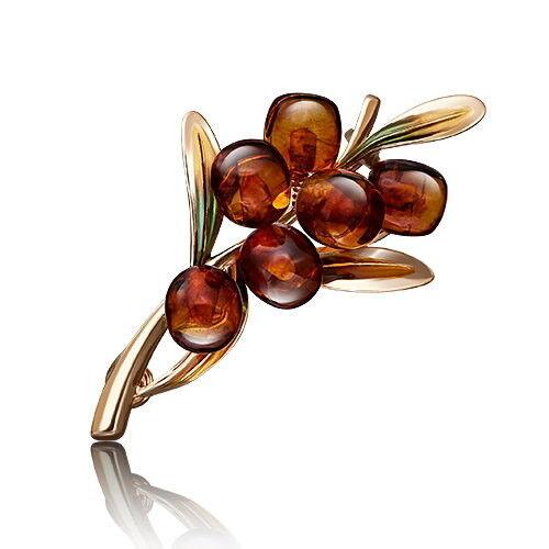 Ювелирный салон Платина Брошь из красного золота с янтарём 04-0195-00-271-1110-46 - фото 1