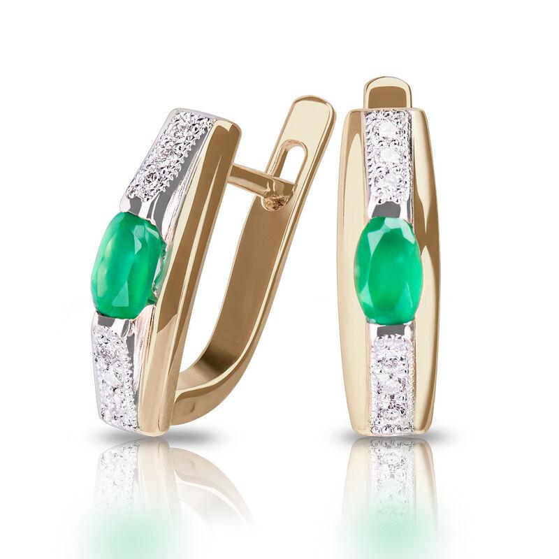 Ювелирный салон Jeweller Karat Серьги золотые с бриллиантами и хризопразом арт. 1222481 - фото 1