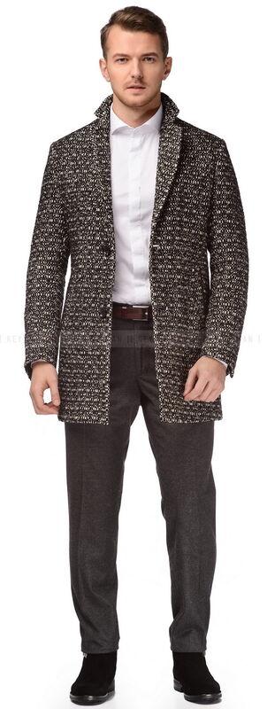 Верхняя одежда мужская Keyman Пальто мужское черно-белое с ветровой планкой - фото 1