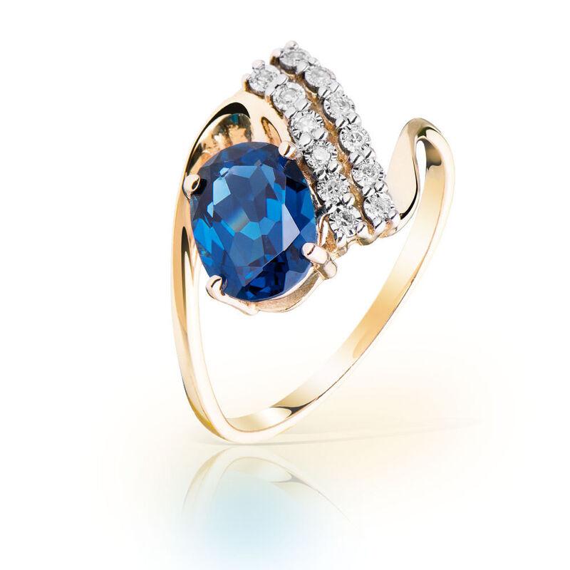 Ювелирный салон Jeweller Karat Кольцо золотое с бриллиантами и топазом Лондон арт. 3216087/9 - фото 1