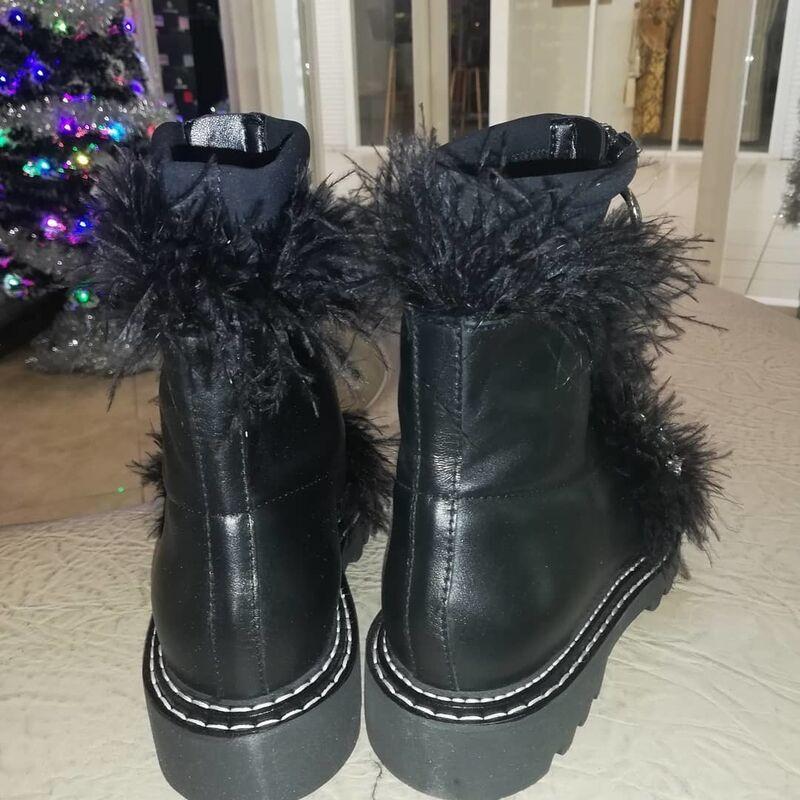 Обувь женская Jeannot Ботинки женские с отделкой из страусовых перьев 5001 - фото 4