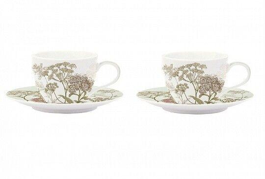 Подарок Nuova R2S Набор из двух чашек с блюдцами зеленого цвета «Botanica» 240 мл, R0978#BOTG - фото 1