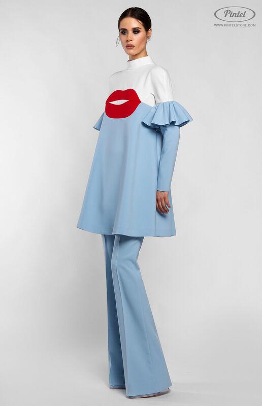 Костюм женский Pintel™ Комбинированный бело-голубой брючный костюм ROOSǍ - фото 2