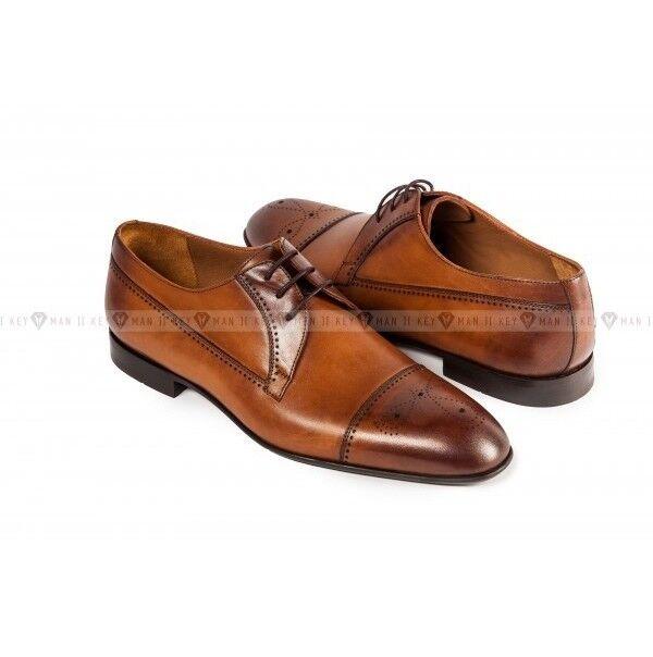 Обувь мужская Keyman Туфли мужские дерби рыжие с декоративной перфорацией - фото 1