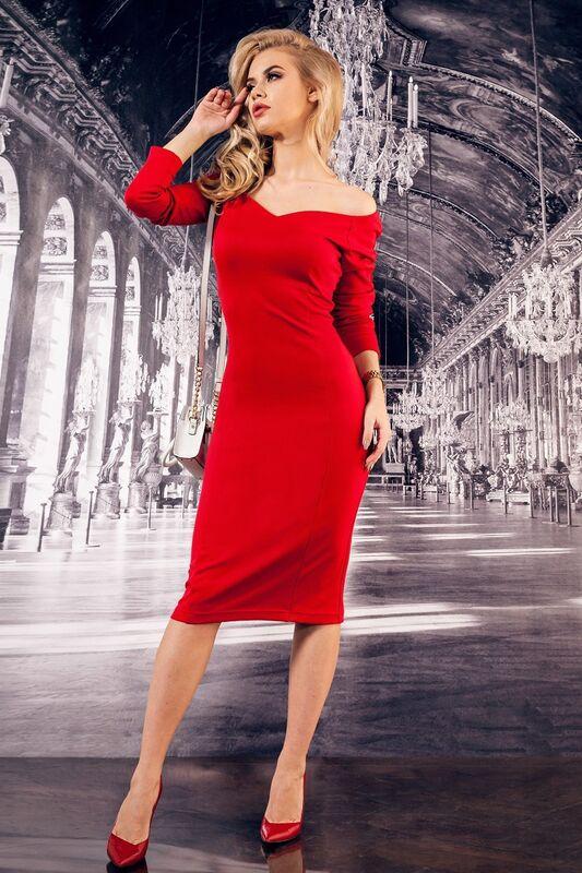 Платье женское SL.IRA Сексуальное платье со спущенными плечами красного цвета - фото 1
