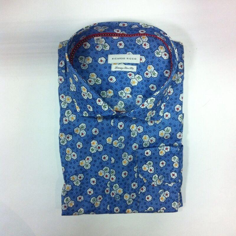 Кофта, рубашка, футболка мужская Ricardo Ricco Рубашка мужская, цвет: принт (Slim Fit) RR20 - фото 1