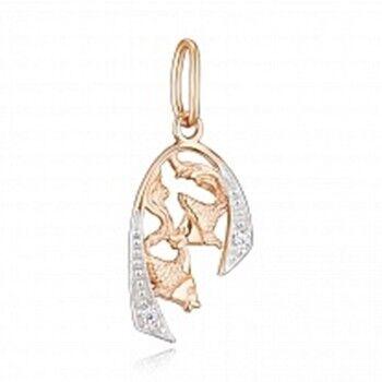 Ювелирный салон Jeweller Karat Подвеска золотая с цирконом арт. 1134147 Рыбы - фото 1
