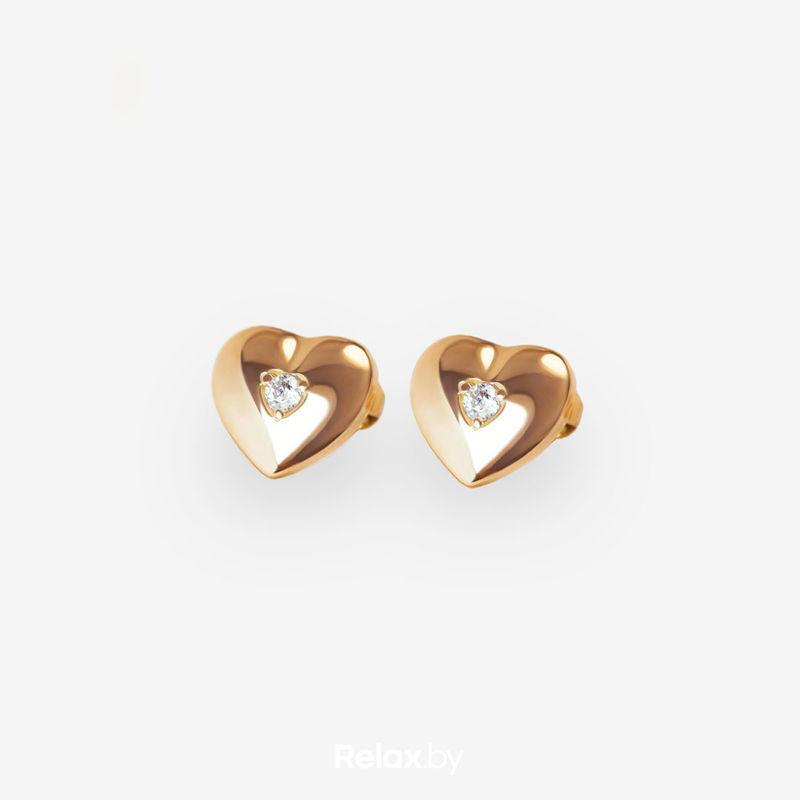 Ювелирный салон Белорусские Бриллианты Серьги из золота со вставкой бриллиант синт. 31020003 - фото 1