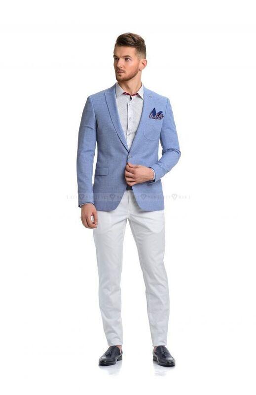Пиджак, жакет, жилетка мужские Keyman Пиджак мужской голубой фактурный с заостренными лацканами - фото 2