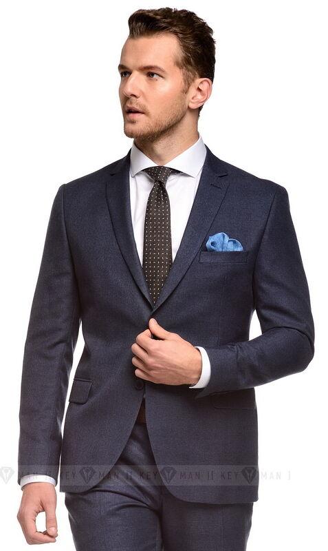 Костюм мужской Keyman Костюм мужской синий в клетку в цвет костюма - фото 1