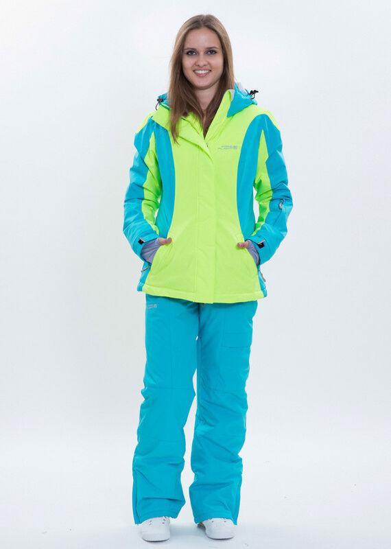 Спортивная одежда Free Flight Женская горнолыжная мембранная куртка салатово-голубая - фото 1