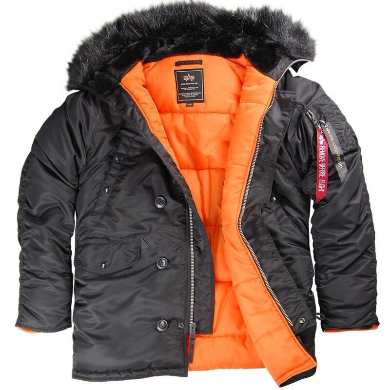 Спортивная одежда Alpha Industries Мужская куртка Аляска N-3B Slim Fit Parka Black/Orange - фото 1