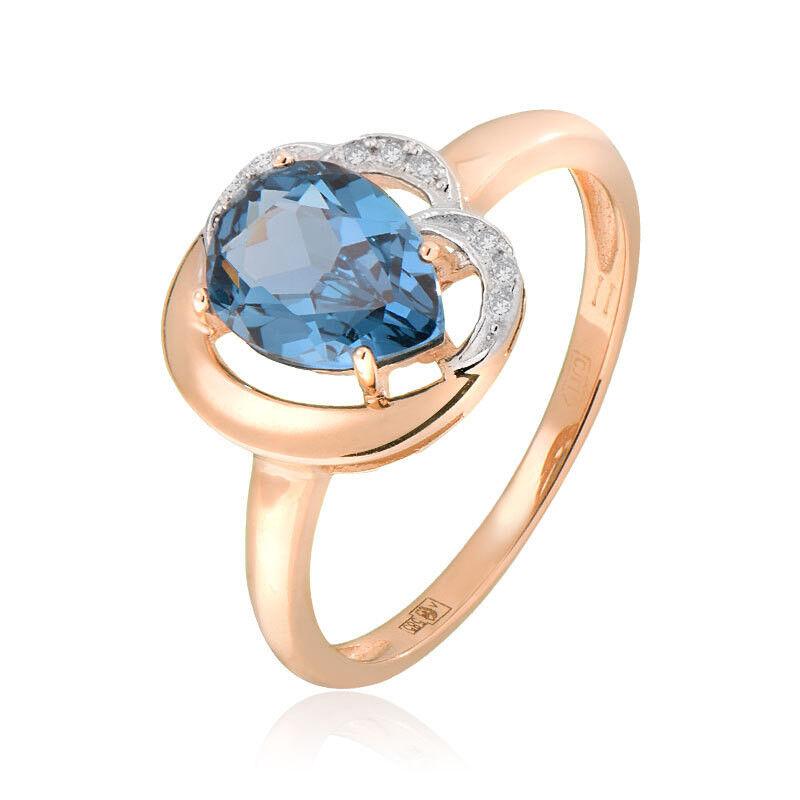 Ювелирный салон Jeweller Karat Кольцо золотое с бриллиантами и топазом арт. 1214762 - фото 1