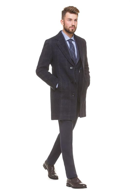 Верхняя одежда мужская HISTORIA Пальто мужское, синее, серая крупная клетка - фото 1