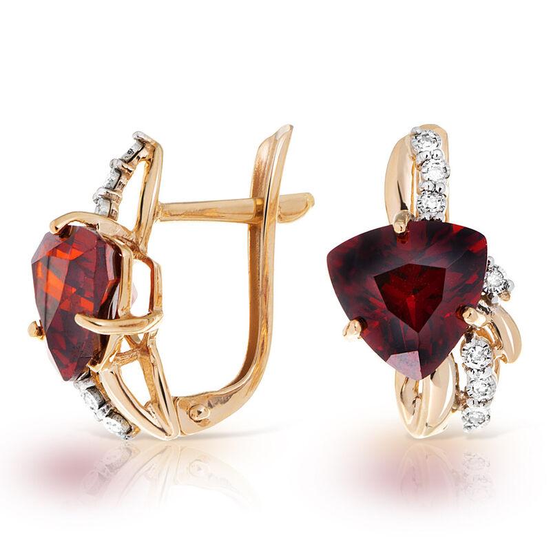 Ювелирный салон Jeweller Karat Серьги золотые с бриллиантами и гранатом арт. 3226140/9 - фото 1