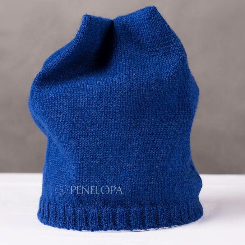 Головной убор PENELOPA Вязаная синяя шапка M6 - фото 1