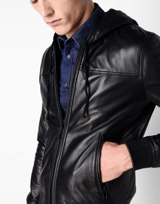 Верхняя одежда мужская Trussardi Кожаная куртка-бомбер мужская 52S02 _510070 - фото 4