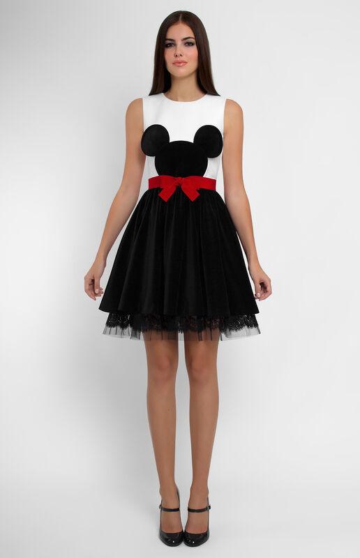 Платье женское Pintel™ Комбинированное платье из хлопка и бархата Fania - фото 1