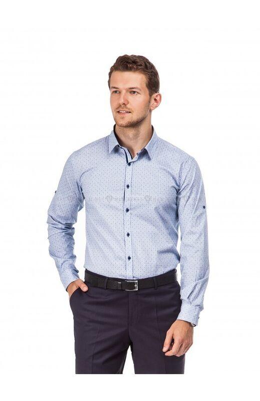 Кофта, рубашка, футболка мужская Keyman Рубашка мужская серая в мелкий узор - фото 1