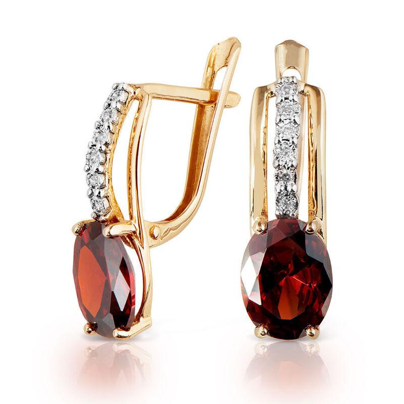 Ювелирный салон Jeweller Karat Серьги золотые с бриллиантами и гранатами арт. 3226096/9 - фото 1