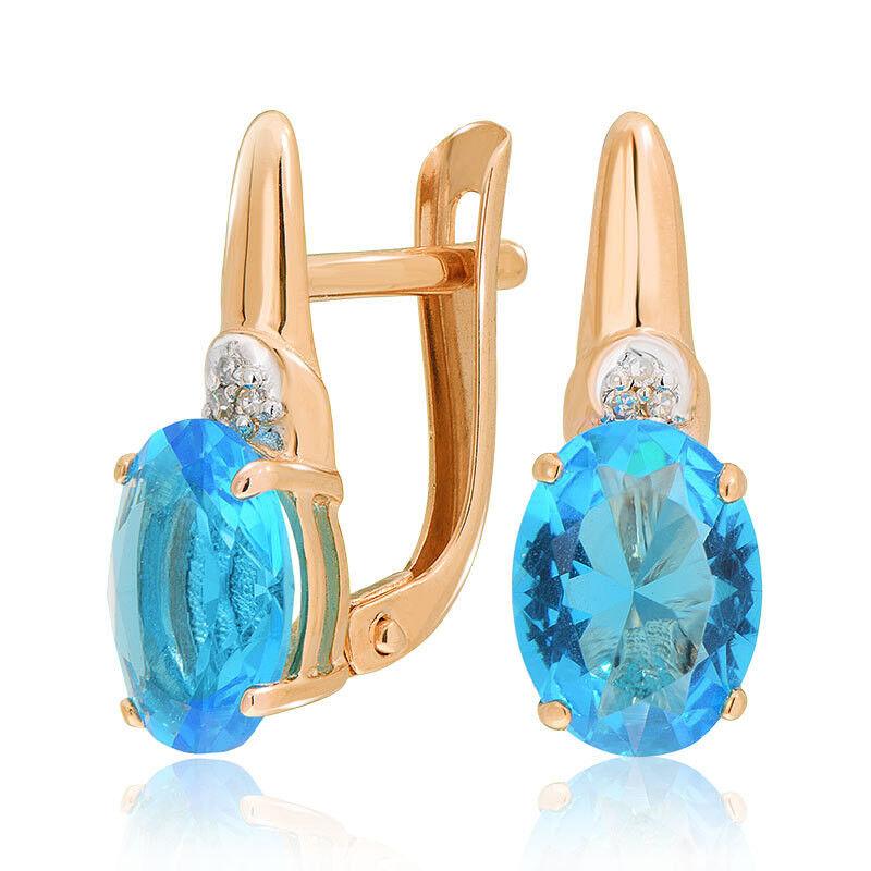 Ювелирный салон Jeweller Karat Серьги золотые с бриллиантами и топазом арт. 1225914/1 - фото 1