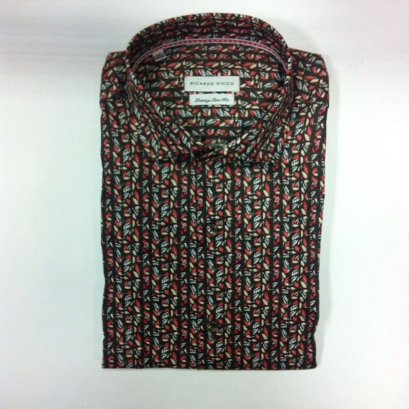 Кофта, рубашка, футболка мужская Ricardo Ricco Рубашка мужская, цвет: принт (Slim Fit) RR19 - фото 1