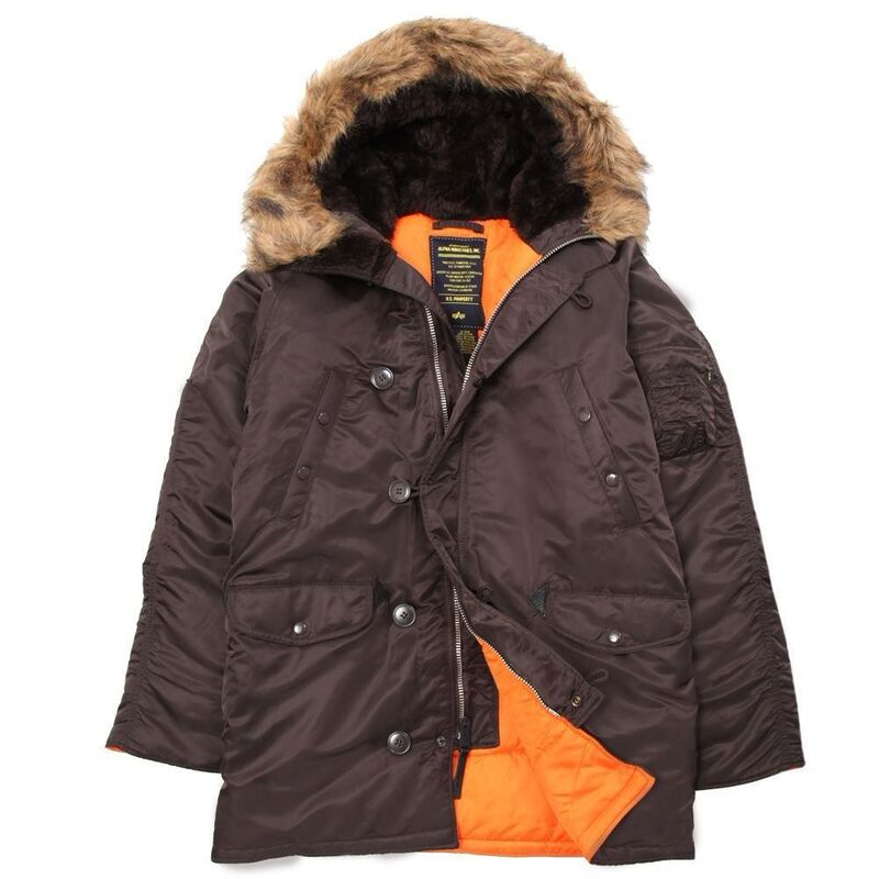 Спортивная одежда Alpha Industries Мужская куртка Аляска N-3B Slim Fit Parka Brown/Orange - фото 1