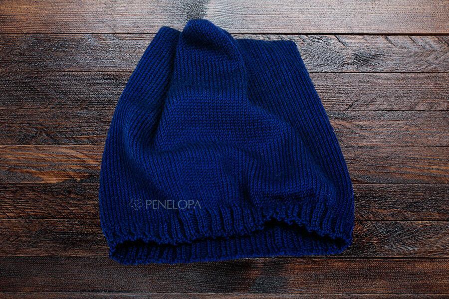 Головной убор PENELOPA Вязаная синяя шапка M6 - фото 2