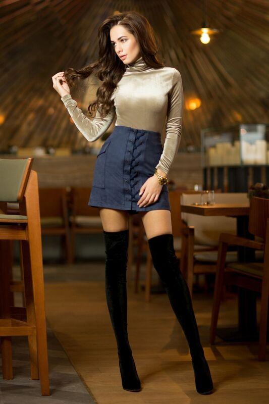 Юбка женская SL.IRA Синяя замшевая юбка со шнуровкой - фото 1