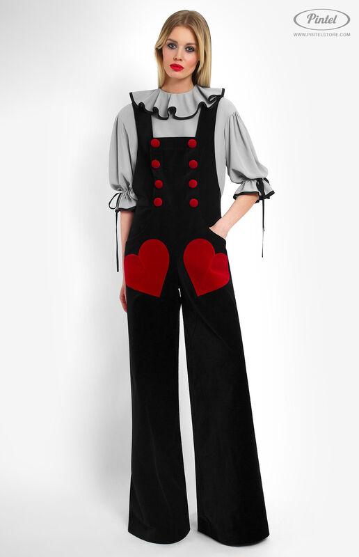 Костюм женский Pintel™ Костюм из блузы и бархатного комбинезона Refka - фото 1