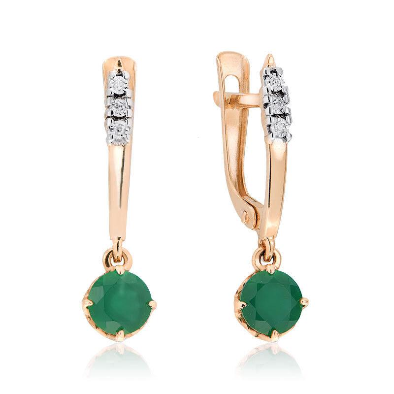 Ювелирный салон Jeweller Karat Серьги золотые с бриллиантами и хризопразом арт. 3226462/9 - фото 1