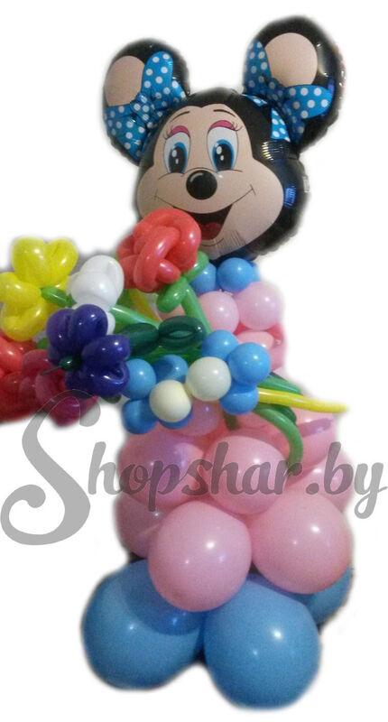 Подарок Весёлый праздник Мини Маус из воздушных шаров - фото 1