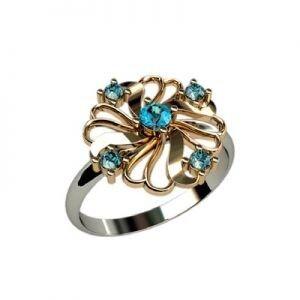 Ювелирный салон jstudio Золотое кольцо с различными вставками 10239 - фото 1