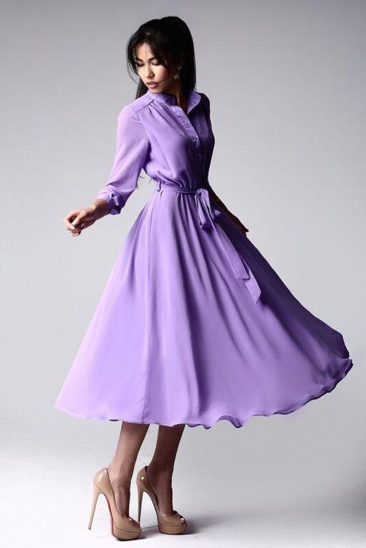 Платье женское SL.IRA Платье шифоновое с длинным рукавом лавандовое - фото 1