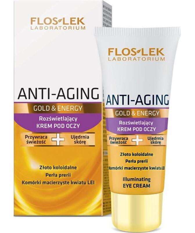 Уход за лицом Floslek Освежающий крем для кожи вокруг глаз Anti-Aging Gold&Energy Illuminating eye Cream, 30 мл - фото 1