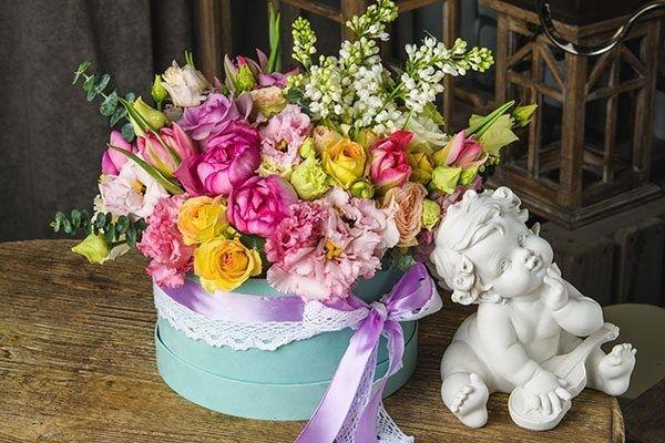 Магазин цветов Цветы на Киселева Бархатная коробка «Нежность» - фото 1