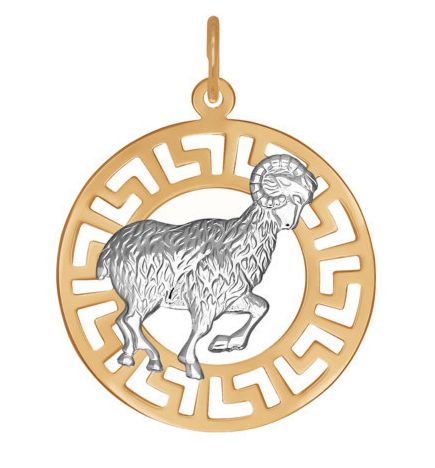 Ювелирный салон Sokolov Золотая подвеска «Знак зодиака Овен» 031235 - фото 1